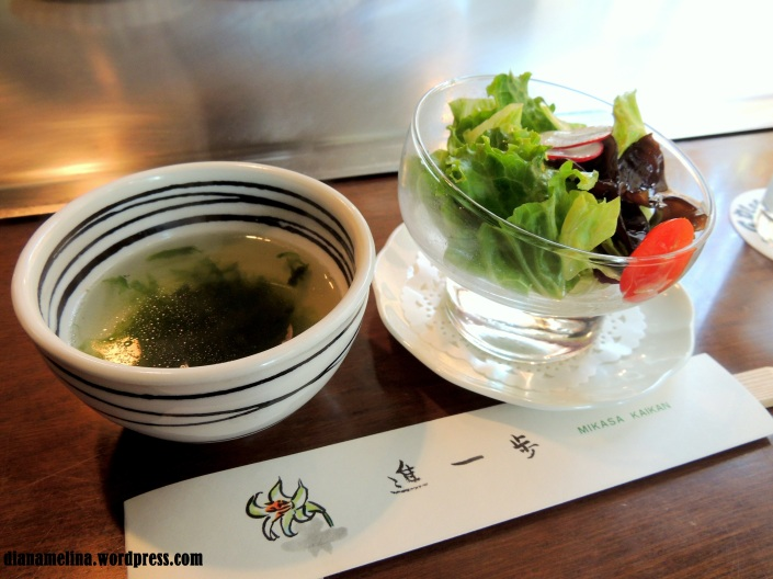 Soup of Sea Weeds and Salad Yamato Style